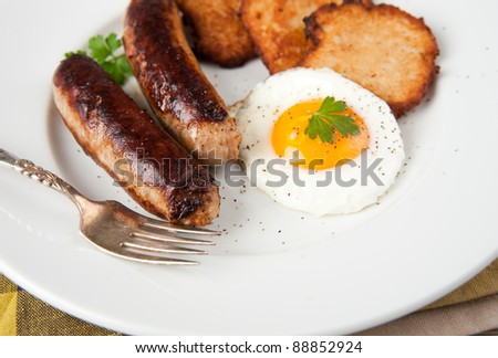 Sausages, Eggs, and Potato Pancakes for Paleo Style Breakfast