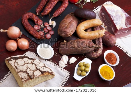 Sausages mix in a Portuguese tradicional ambient - stock photo