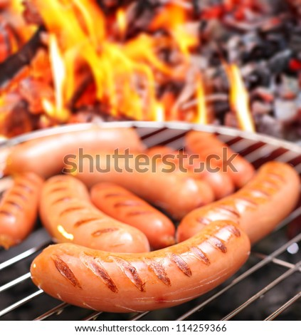 Sausages on a grill. In the background in bonfire.