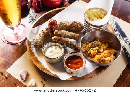 sausages with cabbage and potatoes
