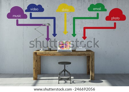 Sava data and music and photos online with cloud computing (3D Rendering) - stock photo