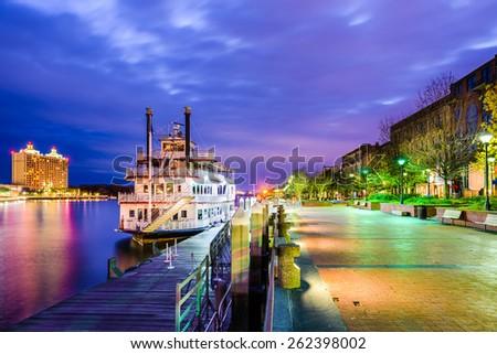 Savannah, Georgia, USA riverfront. - stock photo