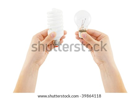 save and incandescent bulb in human hand