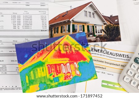 save energy. house with thermal imaging camera photographed - stock photo