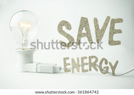 save energy word and light bulb for energy concept - stock photo