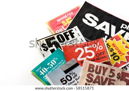 Save money. Colorful coupons on white background. - stock photo