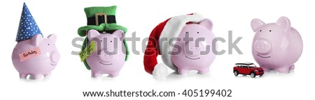 Save money concept. Collection of piggy banks, isolated on white - stock photo