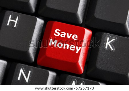 save money for investment concept with a red button on computer keyboard - stock photo