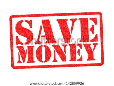 SAVE MONEY Rubber Stamp over a white background. - stock photo