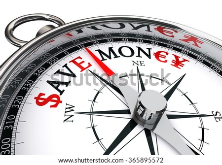 save money word on concept compass with dollar, euro, yen symbols, isolated on white background