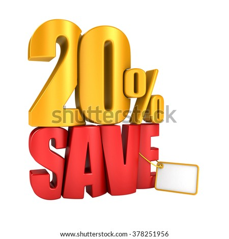 Save 20 percent 3d letters render on a white background