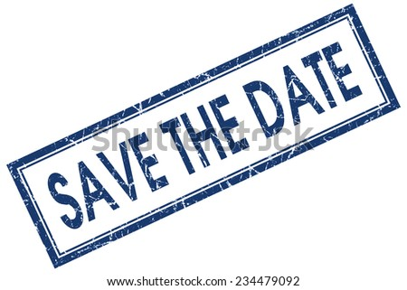 save the date blue square stamp isolated on white background - stock photo