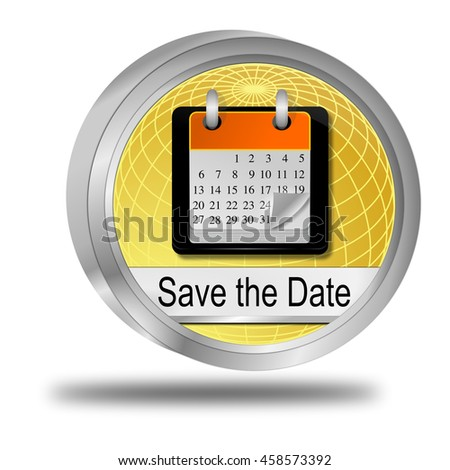 Save the Date Button - 3D illustration - stock photo