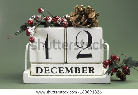Save the Date calendar with Winter theme colors, fruit and flowers, for birthdays, special occasions, holidays, weddings, website events, or Christmas Advent calendar days, for December 12 - stock photo