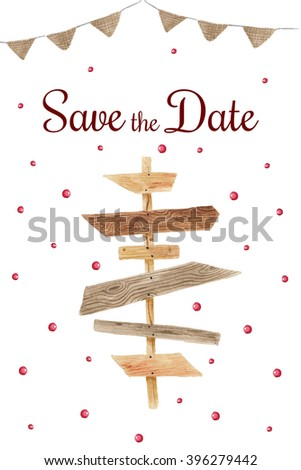 Save the date in rustic style