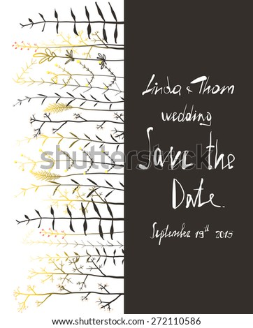 Save the Date Invitation Card Template with Flowers. Wedding card with horizontal grass on black and white text illustration. Raster variant.