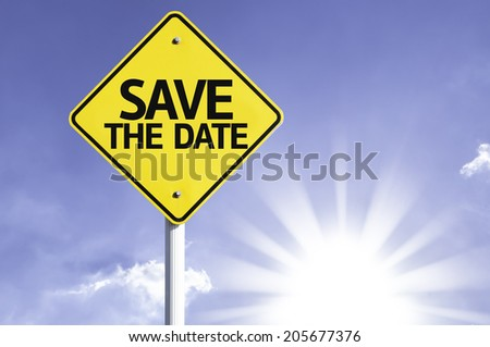 Save the Date road sign with sun background - stock photo