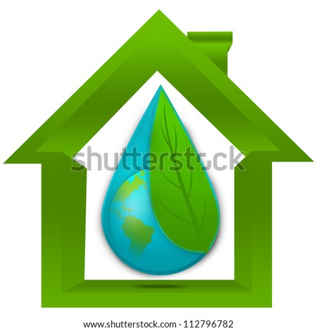 Save The Earth and Save The Water Concept Present By The Earth Cover By Green Leaf in The Water Drop Inside The House Isolated on White Background - stock photo