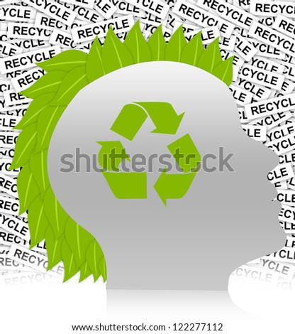 Save The Earth Concept Present By Recycle Sign in Head With Leaf Hair in Recycle Label Background - stock photo