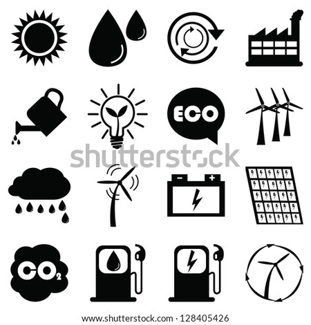 Save The Earth or Ecology Concept Present By Black Ecology Icons Set Isolated on White Background - stock photo