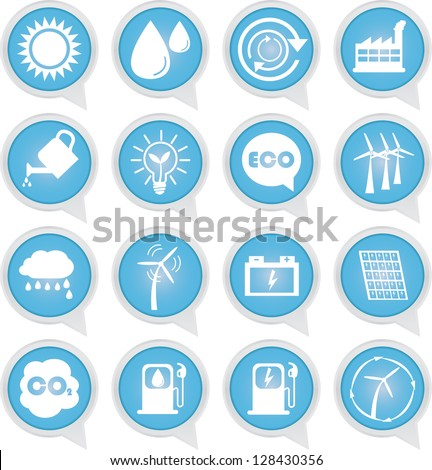 Save The Earth or Ecology Concept Present By Ecology Sign on Blue Icon Set Isolated on White Background - stock photo