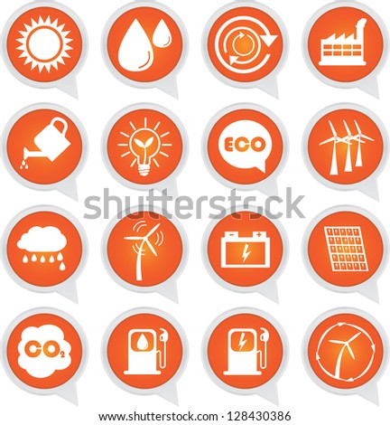Save The Earth or Ecology Concept Present By Ecology Sign on Orange Icon Set Isolated on White Background - stock photo