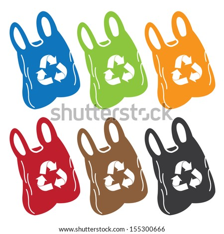 Save The Earth, Stop Global Warming or Recycle Concept Present By Colorful Plastic Bag With Recycle Sign Inside Isolated on White Background  - stock photo