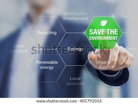 Save the environment icon touched by a businessman, climate change conference - stock photo