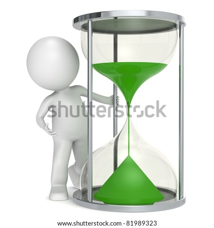 Save the planet.. 3D little human character with a Hourglass with green sand. - stock photo