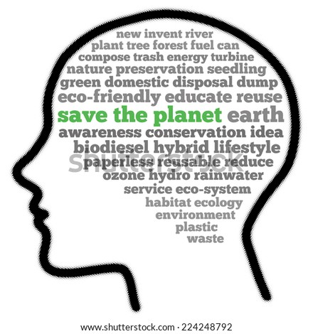Save the planet in words cloud - stock photo