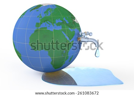 Save water on earth, concept isolated on white background - stock photo