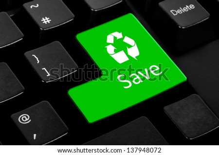 Save words on green and black keyboard button - stock photo