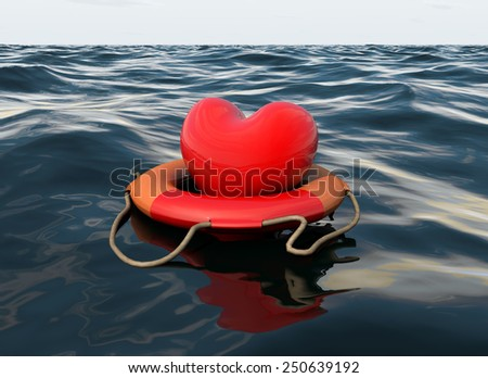 Saved Drowning Heart - stock photo