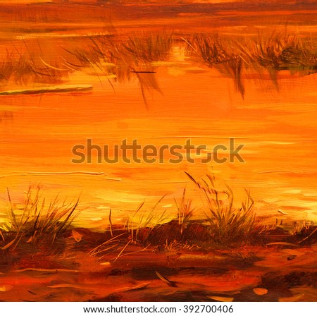 saved lakes sunset of sun, painting by oil on canvas, illustration - stock photo