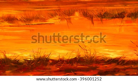saved the rivers during sunset of sun, painting by oil on canvas, illustration - stock photo