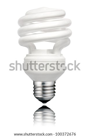 Saver Lightbulb with Screw Bottom and Reflection Isolated on White Background. Energy Saving Bulb - stock photo