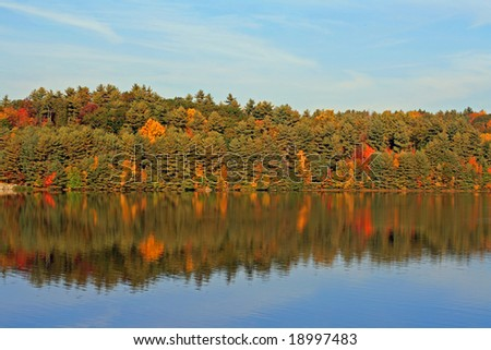 Saville Reservoir on a cool Autumn day. - stock photo