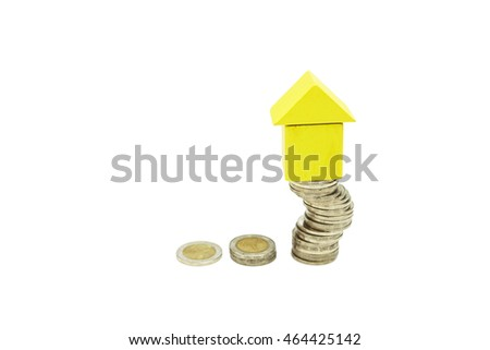 Saving and cumulative money for success to buy home or meet to target,  selective focus