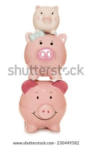 saving as a family piggy bank cutout - stock photo