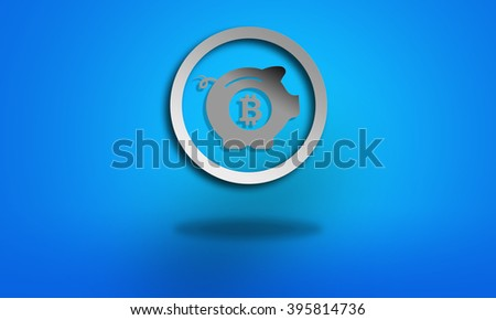 Saving bitcoin symbol on blue background