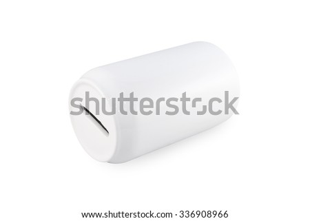 Saving box. Money box. Piggy bank isolated. Save money object. Ceramic can for saving money. Saving box on white background. Clipping path money box. Blank can for saving money. Child money box. Rich - stock photo