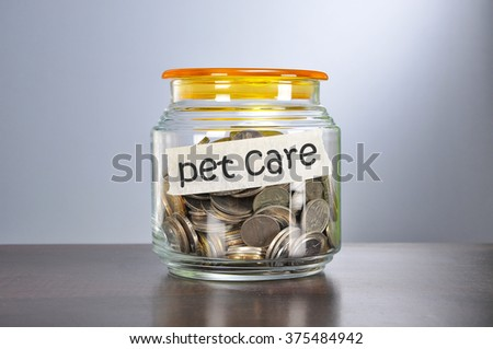 Saving concept of coins in the glass jar for pet care  purpose.