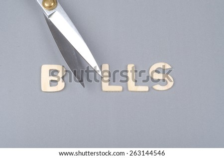 saving concept with bills text and scissor - stock photo