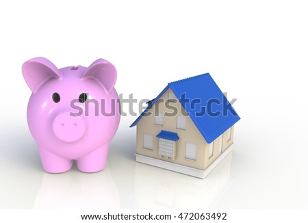 Saving for a house. Piggy bank with house isolated on white background, 3D rendering