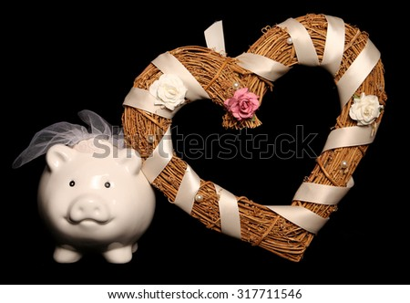 Saving for a wedding piggy bank cutout - stock photo