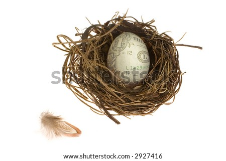 Saving for the future - an egg with a dollar bill for a shell in a pretty nest on a white background. A small feather is nearby.