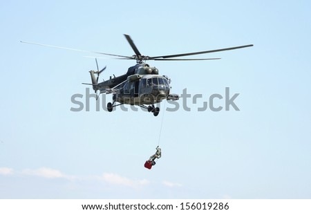 Saving helicopter - stock photo