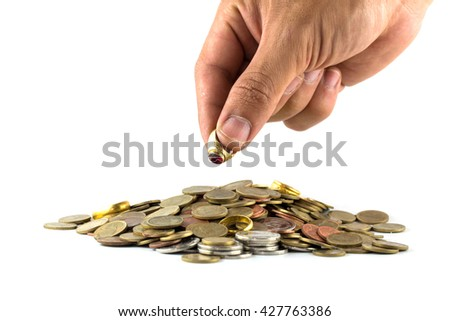 Saving money concept,Male hand putting money coin pile growing business.isolate on white background.