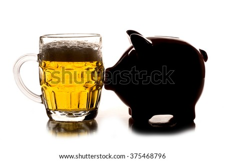 saving money for a pint of beer cutout - stock photo