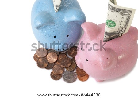 Saving money for two kids, two piggy banks over white - focus is on eyes - stock photo